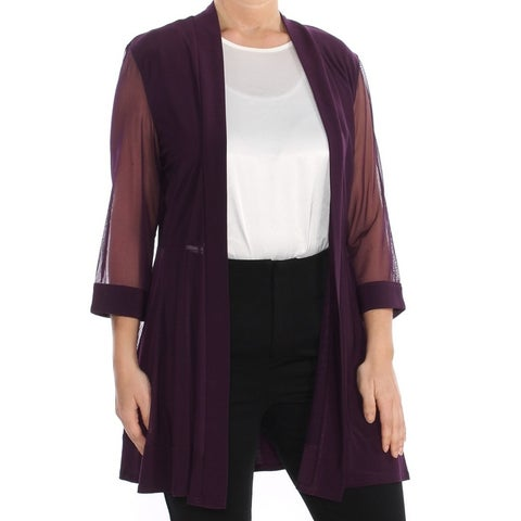 R&M RICHARDS Womens Purple Sheer 3/4 Sleeves Jacket Size: 14