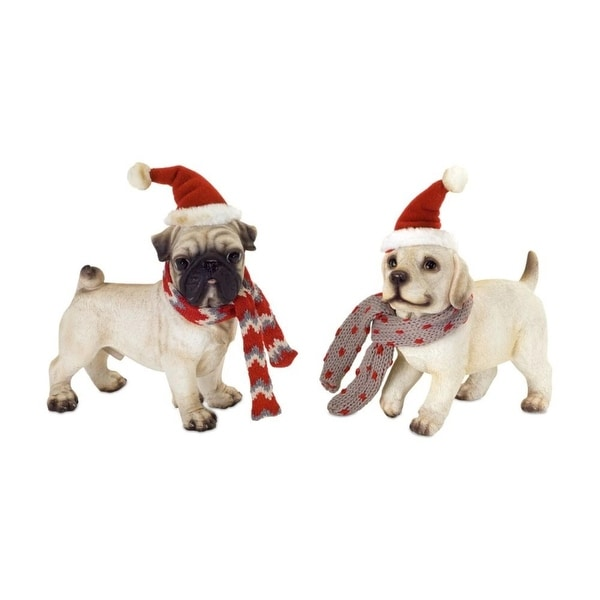 Set of 4 Festive Christmas Dog Figures with Scarves - brown