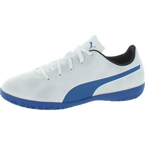 Puma Boys Rapido IT Jr Soccer Shoes Sport Performance - White/Royal Blue/Light Gray