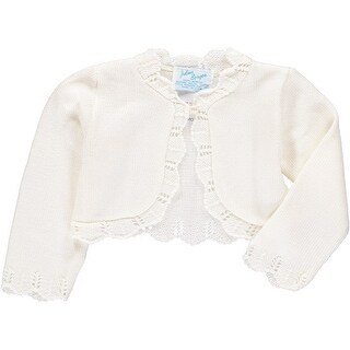 Julius Berger Baby Girls Ivory Scalloped Edge Mid Torso Classic Bolero