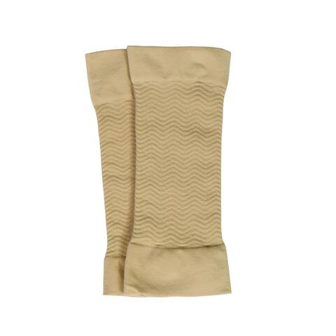 Women Nylon Zig Zag Design Stretchy Compression Arm Elbow Sleeves - Beige