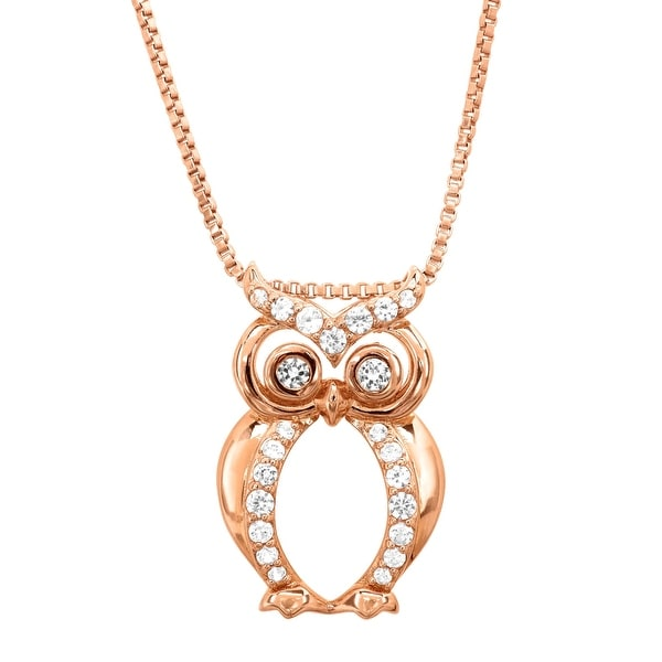 1/3 ct Created White Sapphire Owl Pendant in 18K Rose Gold-Plated Sterling Silver
