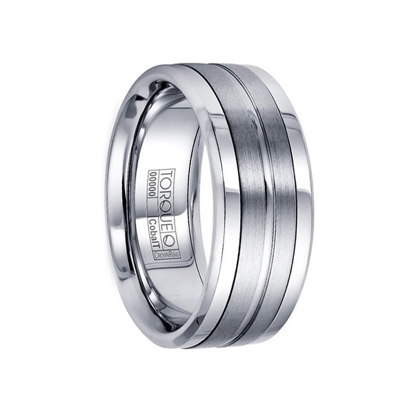 BELLIC Flat Cobalt Wedding Ring with Center Brushed Pattern Polished Edges by Crown Ring - 9mm