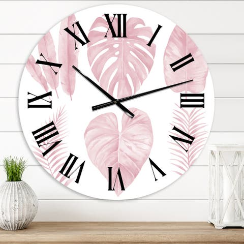 Designart 'Tropical Pink Watercolour Leaves I' Shabby Chic wall clock
