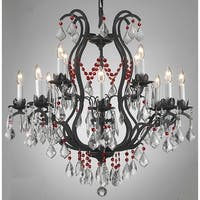 Wrought Iron & Crystal Chandelier Dressed With Red Crystals