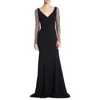 Theia Faux Pearl Beaded Long Sleeve Mermaid Evening Gown Dress - 8