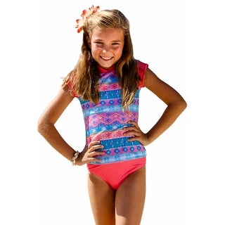 Sun Emporium Girls Coral Pink Short Sleeve Rash Guard Bikini Set