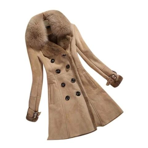 Allbebe Brown Women's Size XL Faux Fur Thicken Long Shearling Coat