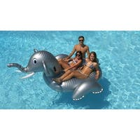 9' Water Sports Inflatable Giant Elephant Swimming Pool Ride-On Lounger - gray