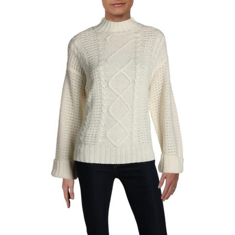 Alison Andrews Womens Sweater Turtleneck Ribbed - Ivory