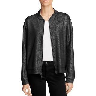 Status by Chenault Womens Bomber Jacket Sparkle Zip Up
