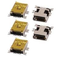 5 Pcs B Type Mini USB Connector Female Socket Copper Computer Adapter