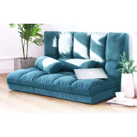 Porch & Den Osterman Blue 5-position Adjustable/Folding Floor Loveseat with 2 Pillows