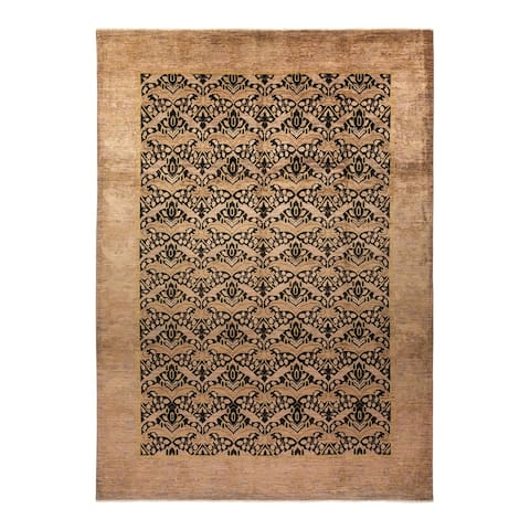 """Arts & Crafts, One-of-a-Kind Hand-Knotted Area Rug - Black, 9' 10"""" x 13' 9"""" - 9' 10"""" x 13' 9"""""""