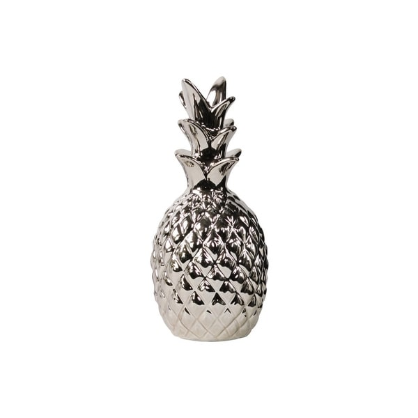 Polished Pineapple Figurine In Ceramic, Silver