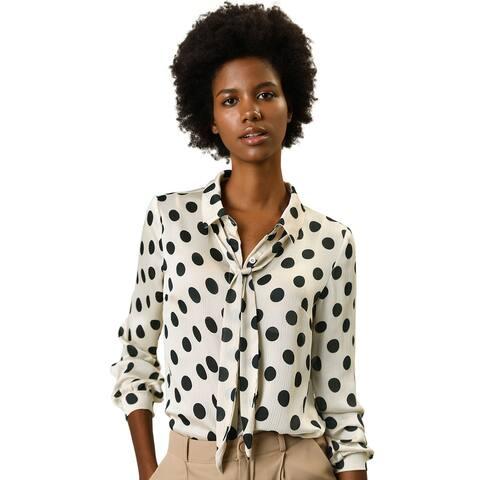 Women's Tie Neck Blouse Button Down Polka Dot Shirt