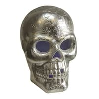 """14"""" LED Lighted Silver Metallic Day of the Dead Skull Halloween Decoration"""