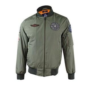 American Rag Men's Hooded Bomber Jacket (Dusty Olive, M) - dusty olive - M
