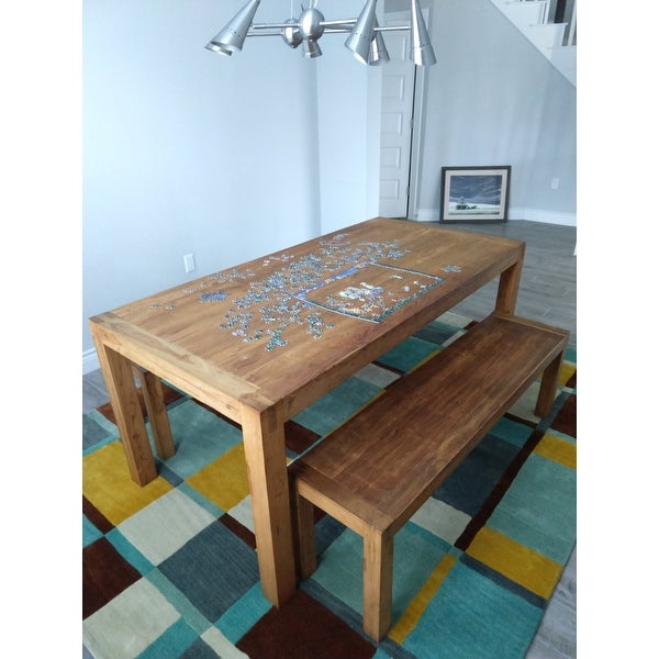 b718ce4a3d Shop Handmade Reclaimed Teak Wood Dining Table and Benches Set (India) -  Free Shipping Today - Overstock - 5762579