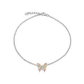 Bling Jewelry Synthetic Pink Opal Butterfly Ankle Bracelet Rhodium Plated Silver