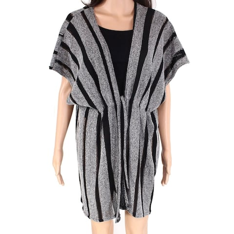 David & Young Womens Swimwear Black Gray One Size Striped Cinched Cover-Up 894