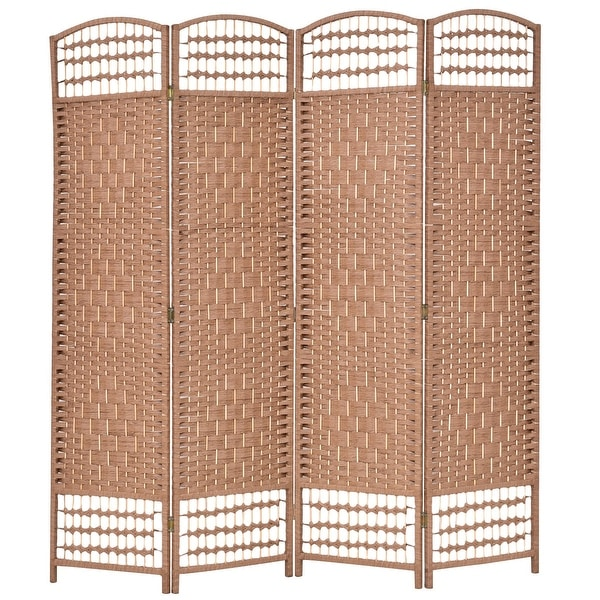 Shop Costway 67 Folding Woven Room Divider 4 Hinged Panel Privacy
