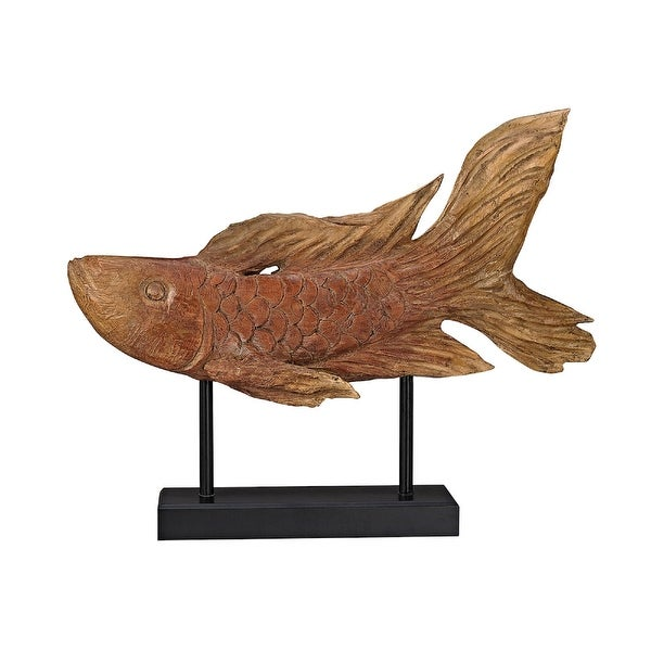 "17"" Brown Ryukyu Fish Sculpture - N/A"