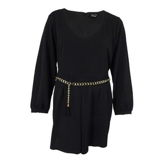 City Chic Women's Plus Size Long-Sleeve Belted Romper