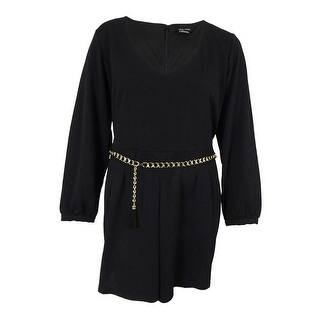 City Chic Women's Plus Size Long-Sleeve Belted Romper - Black|https://ak1.ostkcdn.com/images/products/is/images/direct/8f343fc9cc71616f0f7254614aca735c169f57e2/City-Chic-Women%27s-Plus-Size-Long-Sleeve-Belted-Romper.jpg?impolicy=medium