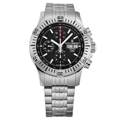 Revue Thommen Men's 16071.6139 'Air speed' Black Dial Chronograph Day-Date Swiss Automatic Watch