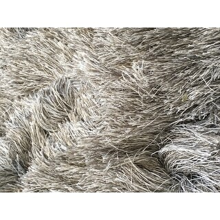 Safavieh Handmade Silken Glam Paris Shag Silver Rug (3' x 5')