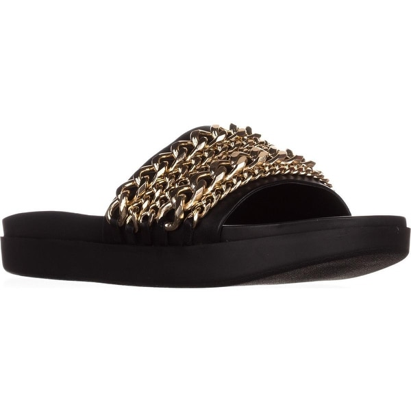KENDALL + KYLIE Shiloh2 Flat Slide Sandals, Black - 9.5 us