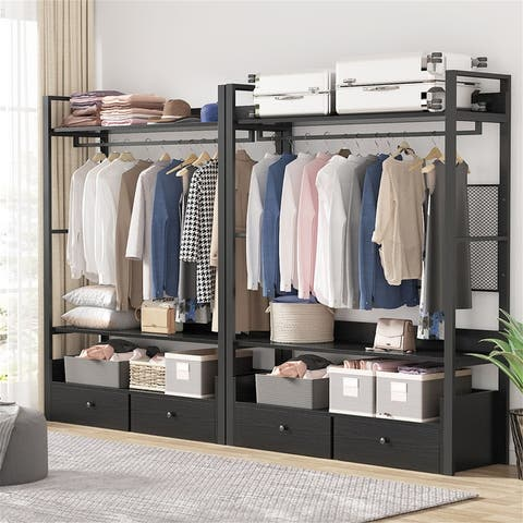 Closet Storage System with 3 Shelves and Double Drawers