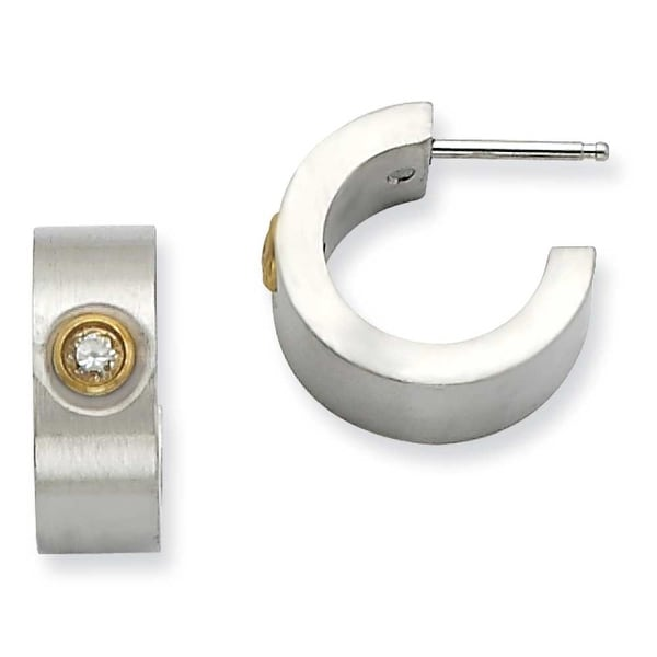 Chisel Stainless Steel Satin with CZ and IPG Post Hoop Earrings