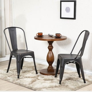 Belleze Set of (2) Side Chairs Dining Set High Back Stackable Chair, Antique Black