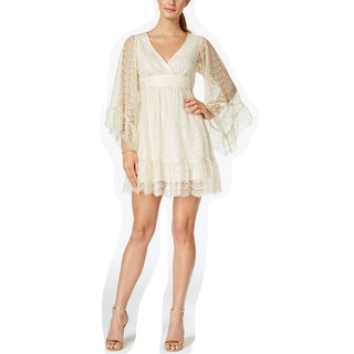 Betsey Johnson Bell Sleeve Surplice Front Babydoll Dress with Ruffle Trim, 4