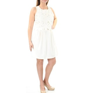 Womens Ivory Sleeveless Above The Knee Pleated Wear To Work Dress Size: XL