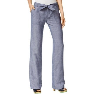 Tommy Hilfiger Womens Casual Pants Linen Wide Leg