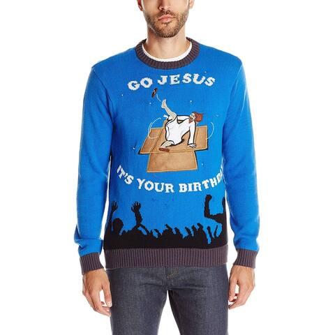 Blizzard Mens Sweater Blue Size 2XL Crewneck Ugly Christmas Light Up