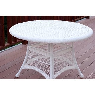 """44.5"""" White Resin Wicker Weather Resistant All-Season Outdoor Patio Dining Table"""