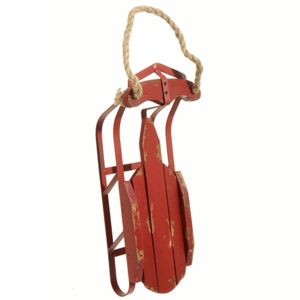 """16.5"""" Country Cabin Decorative Traditional Rustic Christmas Holiday Fir Wood Sled - RED"""