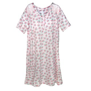 Sag Harbor Ladies Floral Nightshirt Gown with Lace Trim