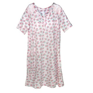 Sag Harbor Ladies Floral Nightshirt Gown with Lace Trim