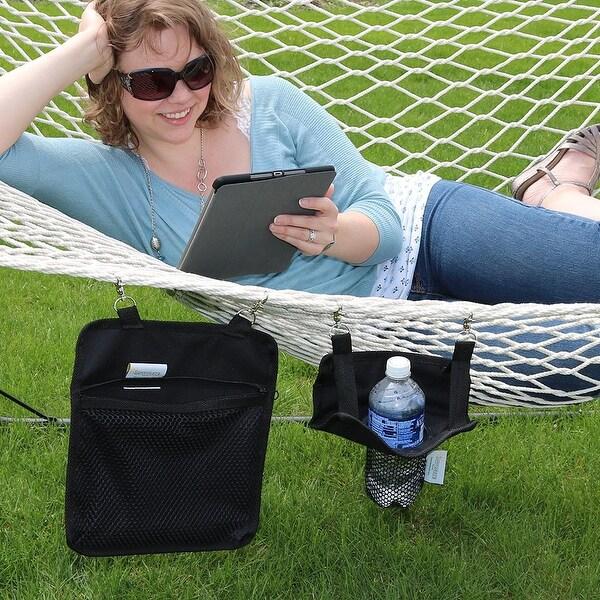 Sunnydaze Hanging Drink & Tablet Holder Set for Rope Hammocks