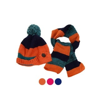 Kids Winter Knitted Fur Pom Beanie Hat Scarf Set for boys and girls - One size