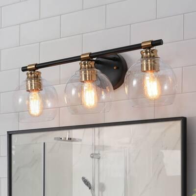 "Modern 3-light Black Brass Bathroom Vanity Light Seeded Glass Globe Wall Sconce - L 22""x W 7""x H 8"""