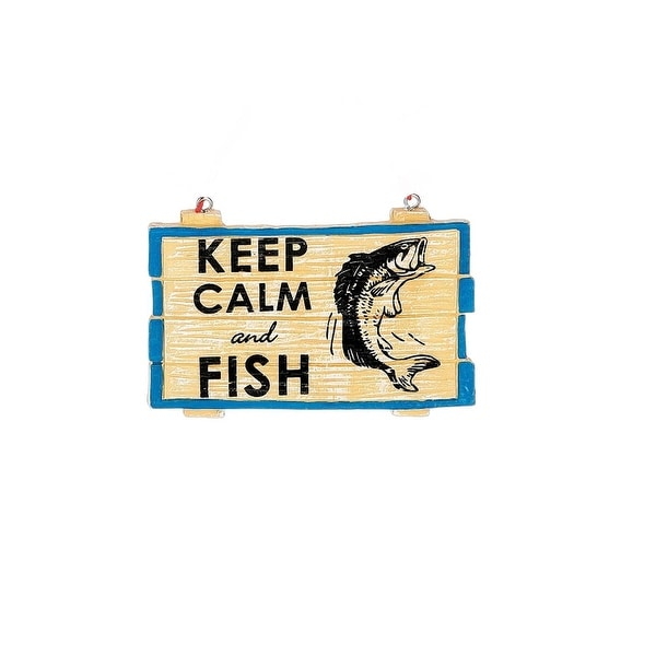 "3.25"" Faux Wood ""Keep Calm and Fish"" Christmas Ornament"