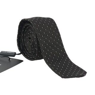 Dolce & Gabbana Black Brown Silk Pattern Skinny Tie - One Size