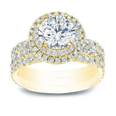 Auriya 2 3/8ctw Round Diamond Halo Engagement Ring 3Pc Set 14k Gold