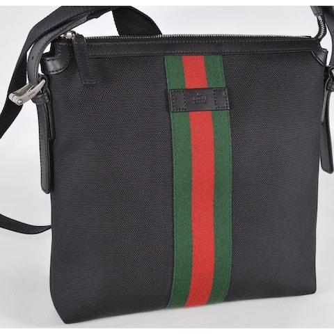 Gucci 631199 Black Techno Canvas Red Green Web Crossbody Bag Purse